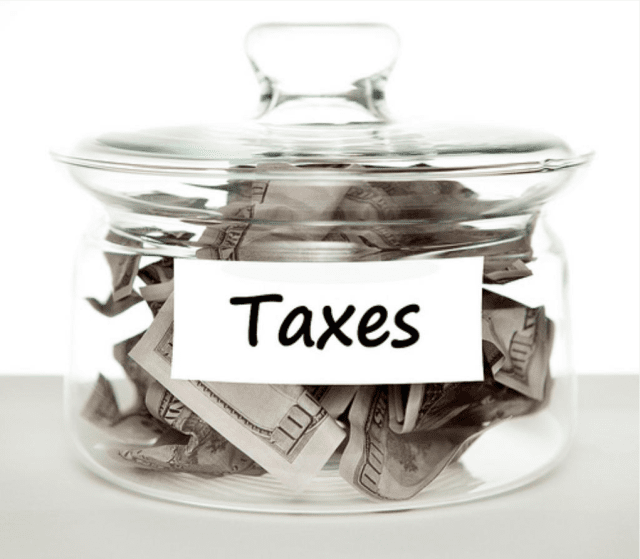 Tax money in a jar
