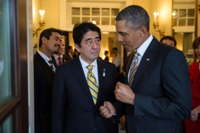 Shinzo Abe and Barack Obama at the White House in 2013. The Japanese prime minister will visit Pearl Harbor Dec. 27.