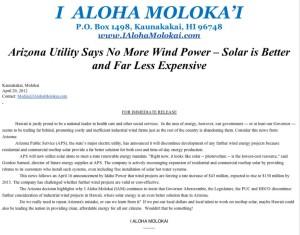 I Aloha Molokai: Arizona Utility Abandoning Wind Power