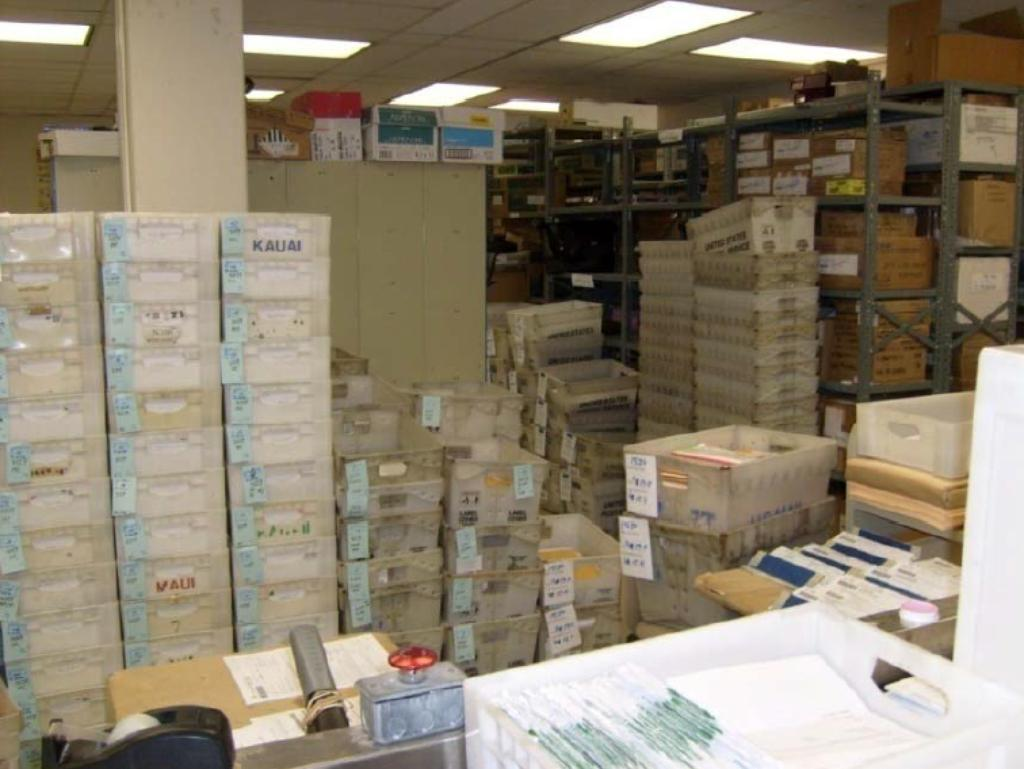 The Tax Department's receiving and sorting section during tax season. The department handles 2.5 million returns annually.