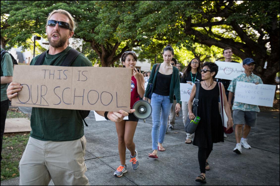 UH Manoa student protest Tom Apple 7.31.14 - Honolulu