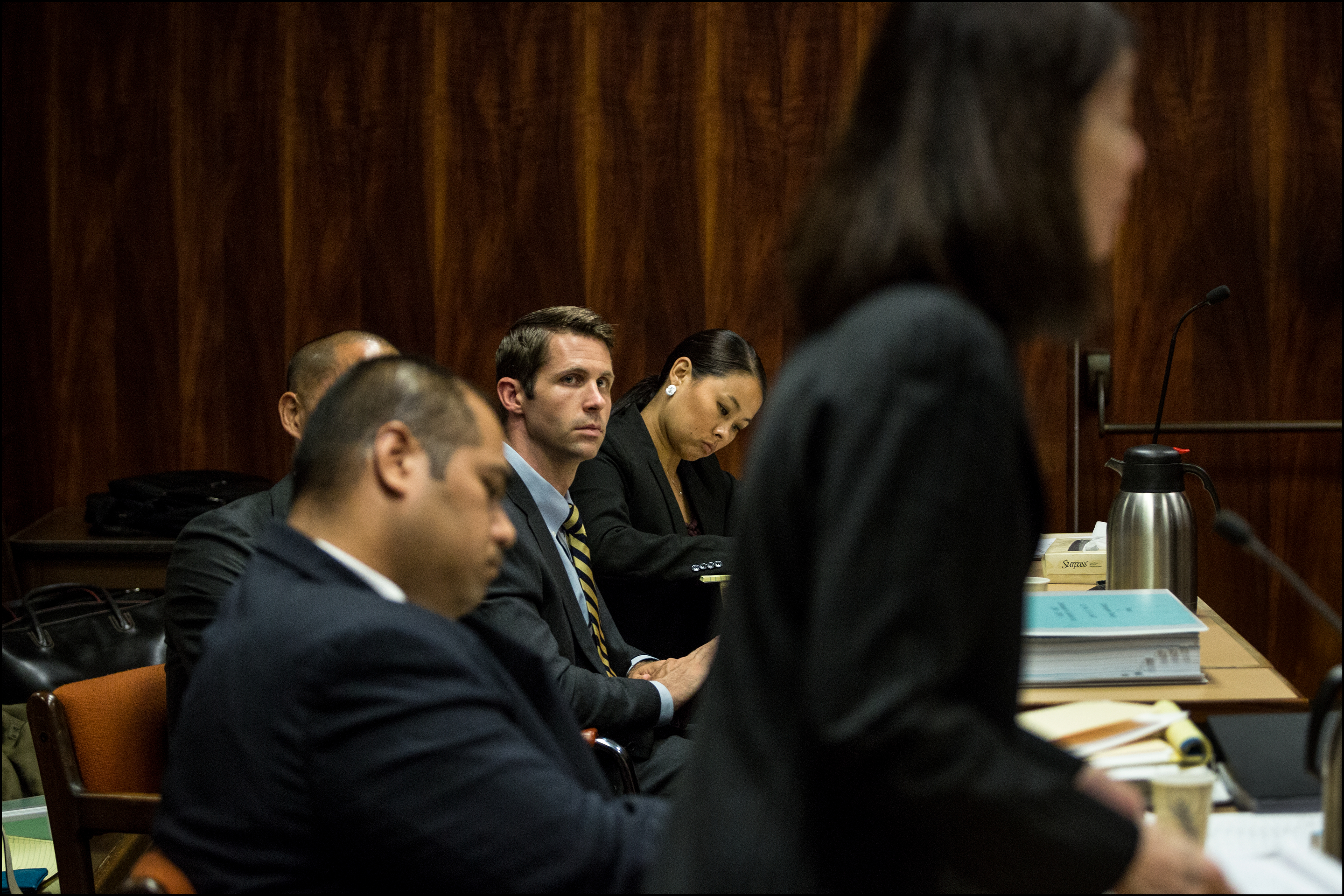 Christopher Deedy listens to prosecuting attorney Janice Futa at the first day of his re-trial in Honolulu on July 10, 2014