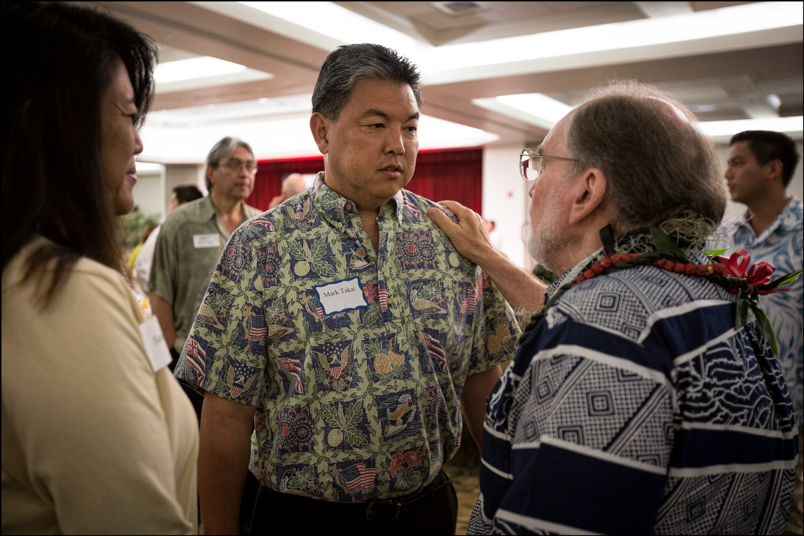<p><strong>August 2014, Gubernatorial Advice:</strong> After winning the Democratic nomination, Takai listens to some words of encouragement from then-Gov. Neil Abercrombie. (Civil Beat photo by PF Bentley)</p>