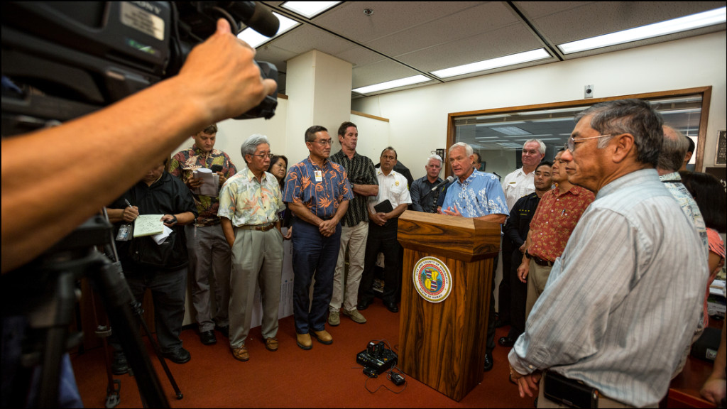 Honolulu Mayor Kirk Caldwell speaks to media at the Department of Emergency Management about city plans for dealing with Hurricane Iselle. August 6, 2014
