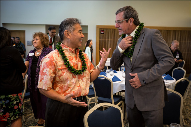 NICE TIE Sen. David Ige comments on Jeff Davis' attire before, forum with Mufi Hannemann, Independent Party, and Duke Aiona, Republican Party at UH West Oahu presented by the West Oahu Economic Development Association, August 26, 2014.  Hannemann and Davis wore coat and ties while Aiona and Ige where in aloha shirts.