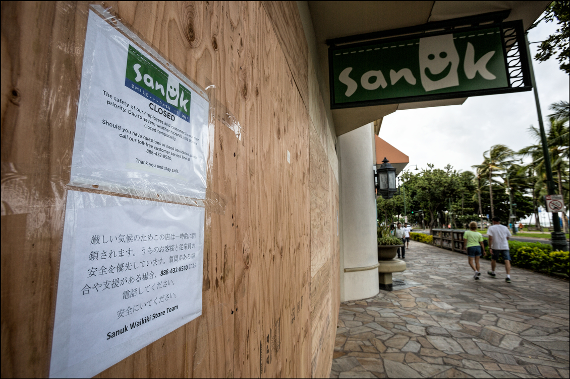 Sanuk didn't just close for the safety of customers and staff, it put boards on its facade. Some shop employees and homeowners taped their windows even though it is generally discouraged by experts.