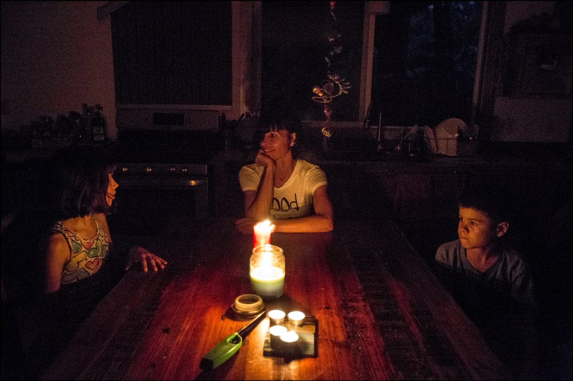 Lucero and her family, including her daughter Cali, left, and son Lucas, right, spent more than a week without power. When the electricity was finally restored, Lucero was jubilant, noting that such experiences can help people to respect what they have.