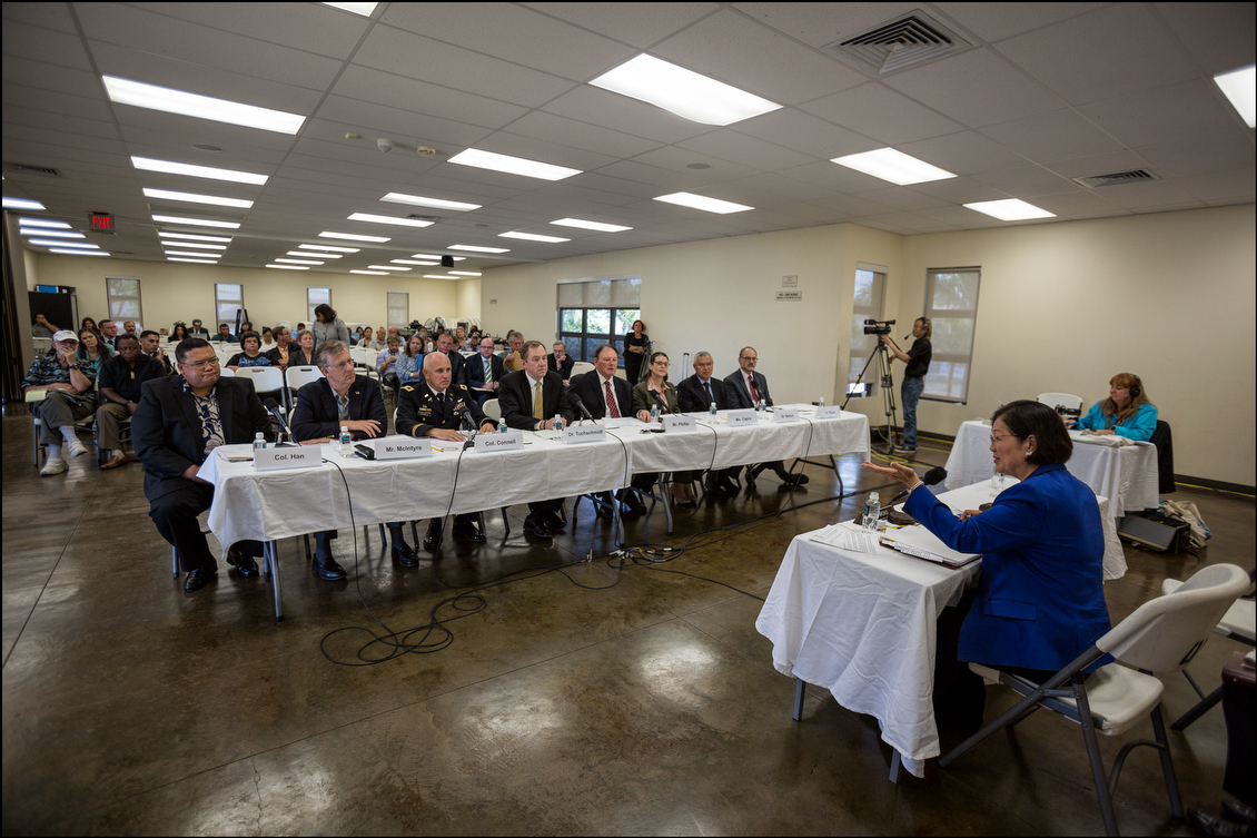 Sen. Hirono, at the mic to the right, spent much of the hearing letting others talk. VA officials and others involved in providing medical services to the military explained what they're doing to try to ease the burden on veterans, particularly those living in Hawaii.