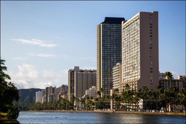 Buildings along the Ala Wai Canal on August 21, 2014
