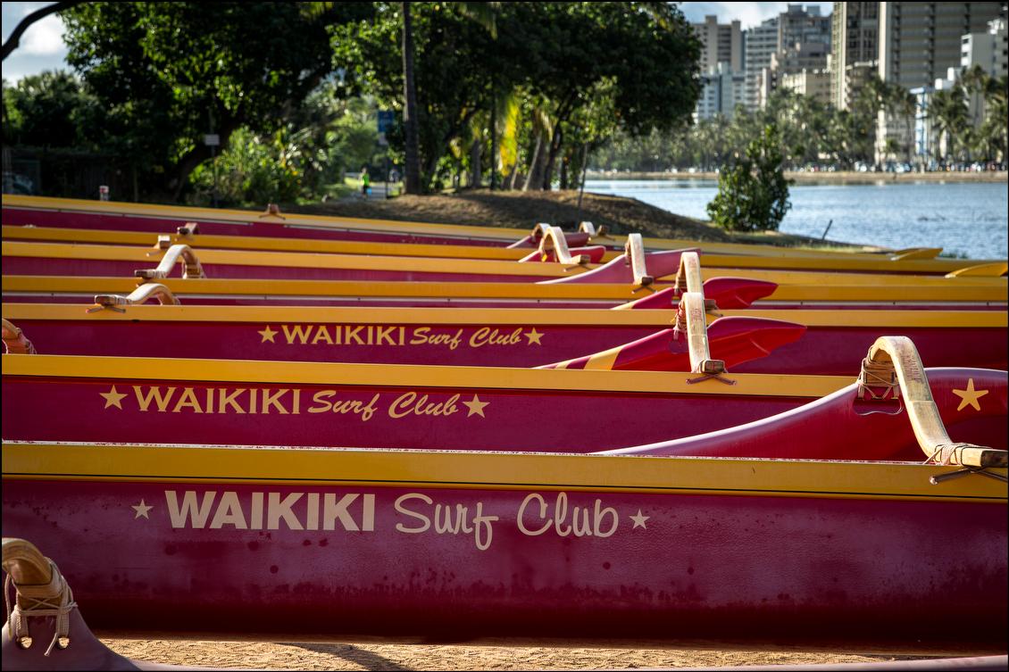 Waikiki Surf Club canoes along Ala Wai Canal on August 21, 2014
