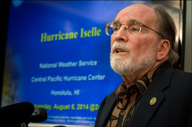 Gov. Neil Abercrombie speaks during a news conference at NOAA concerning his plans for the state as Hurricane Iselle travels closer to Hawaii. August 6, 2014