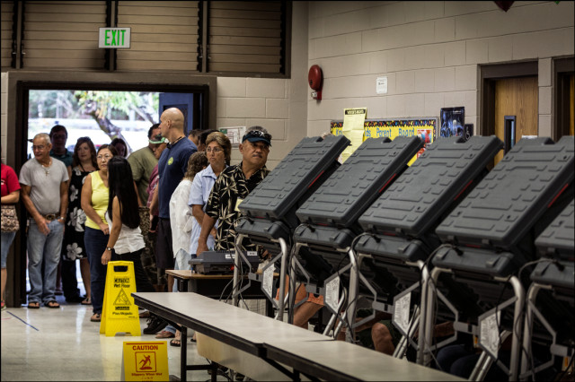 Voters in the Keonepoko Elementary School cafeteria line up to vote on August 15, 2014