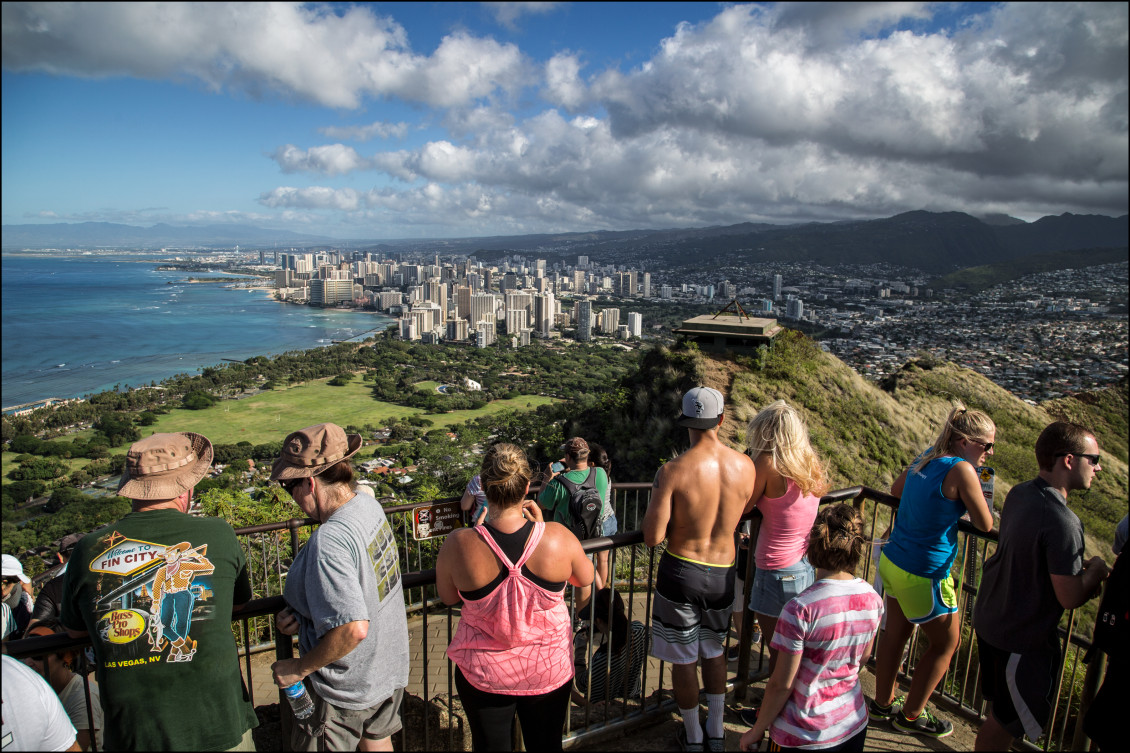 "Hikers at the top enjoy one of the best views of the city. Native Hawaiians built heiaus, monuments to the gods, on the crater's slopes. British sailors are believed to have dubbed it ""Diamond Head"" because they thought crystals glittering in the cone's ashy soil looked like diamonds."
