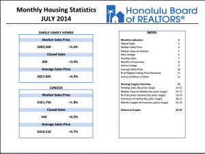 Honolulu July Home Prices, Sales Up Since Last Year