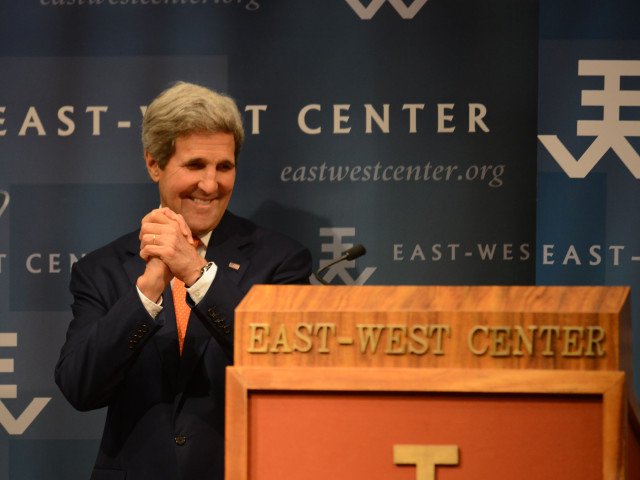 Secretary of State John Kerry gestures before addressing audience about the U.S. vision for Asia-Pacific engagement at the East-West Center in Honolulu, Hawaii. August 13, 2014. photograph by Cory Lum.