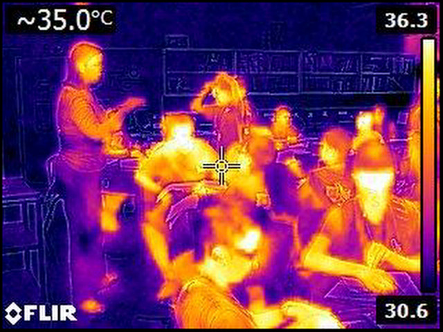 Thermal image taken in classroom at Ilima Intermedate in Ewa Beach on September 12, 2014. The Celsius temperature reading of 35.0 in the upper left corner is equal to 95 degrees Fahrenheit.