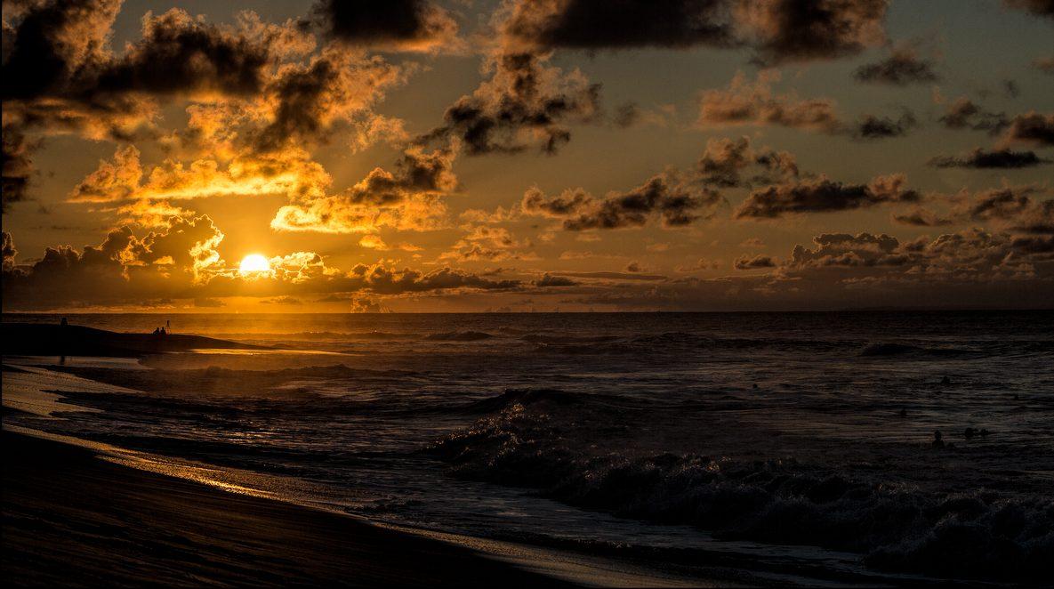 Sunrise on a hot day over Sandy Beach on September 16, 2014