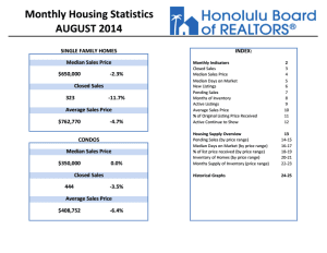 Honolulu Home Price Dips Slightly Compared With August Last Year