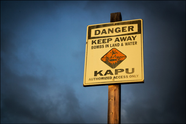 Kapu shoreline sign Kahoolawe. 9.27.14