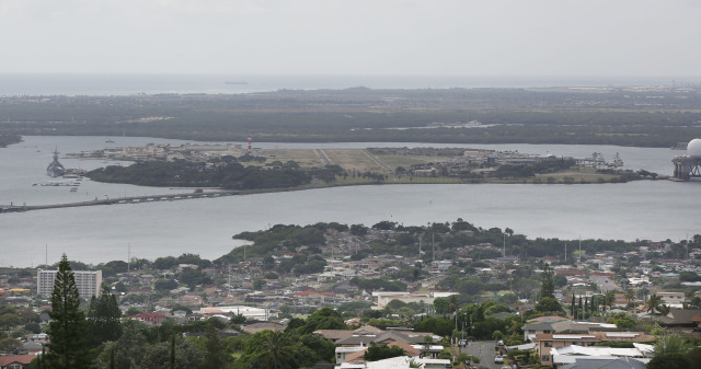 Ford Island seen in view from Aiea Heights. 15 dec 2014. photograph Cory Lum
