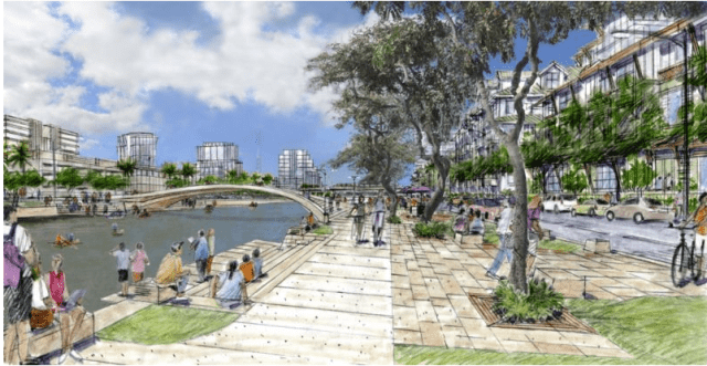 Rendering from the Kalihi transit-oriented development plan showing a revitalized Kapalama Canal.