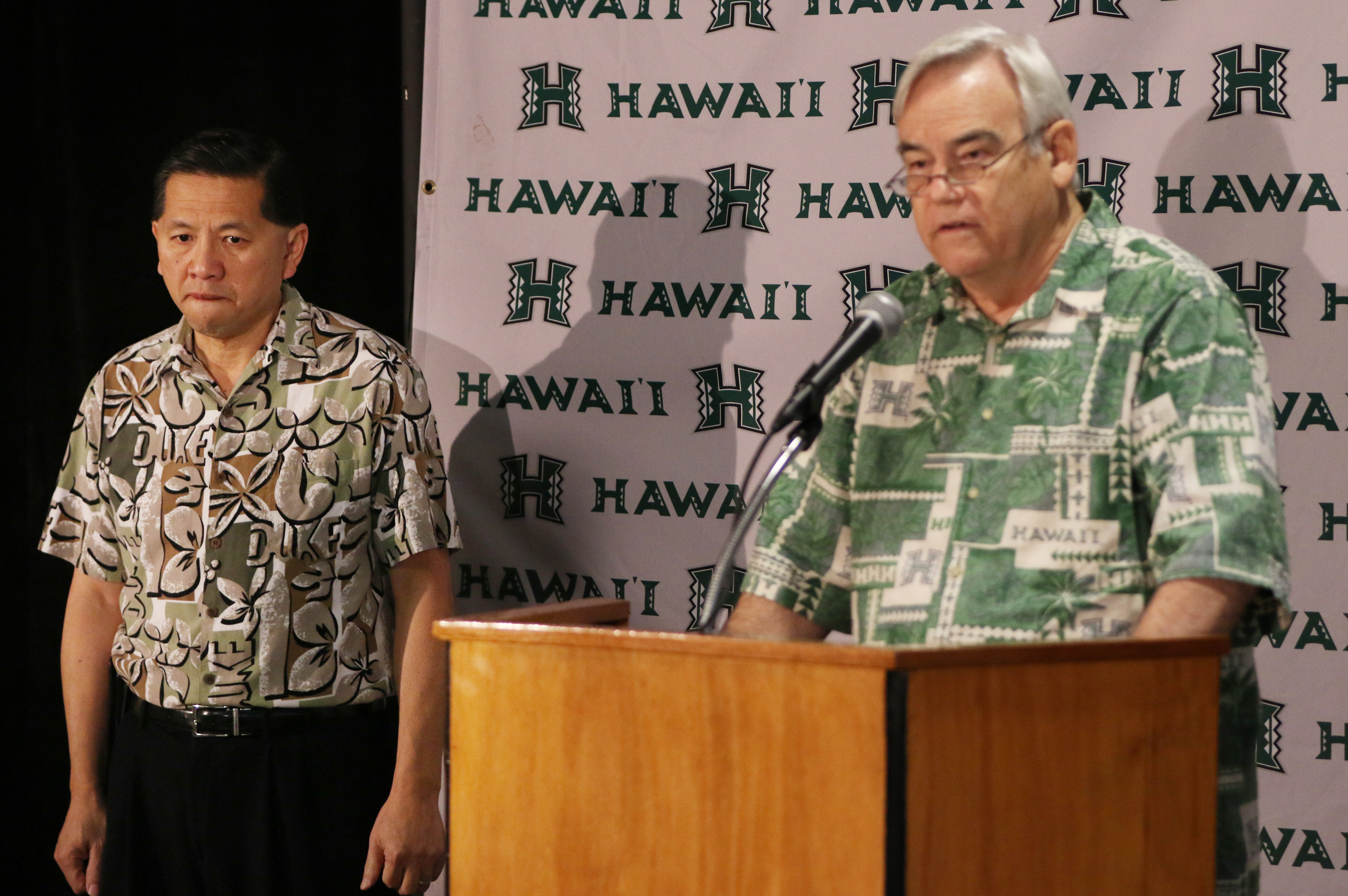 Robert Bley-Vroman, Chancellor, University of Hawaii at Manoa speaks to media after University of Hawaii Athletic Director Ben Jay announced he is resigning from his position as athletic director.  Stan Sheriff Center. Honolulu, Hawaii.  9 dec 2014. photograph Cory Lum