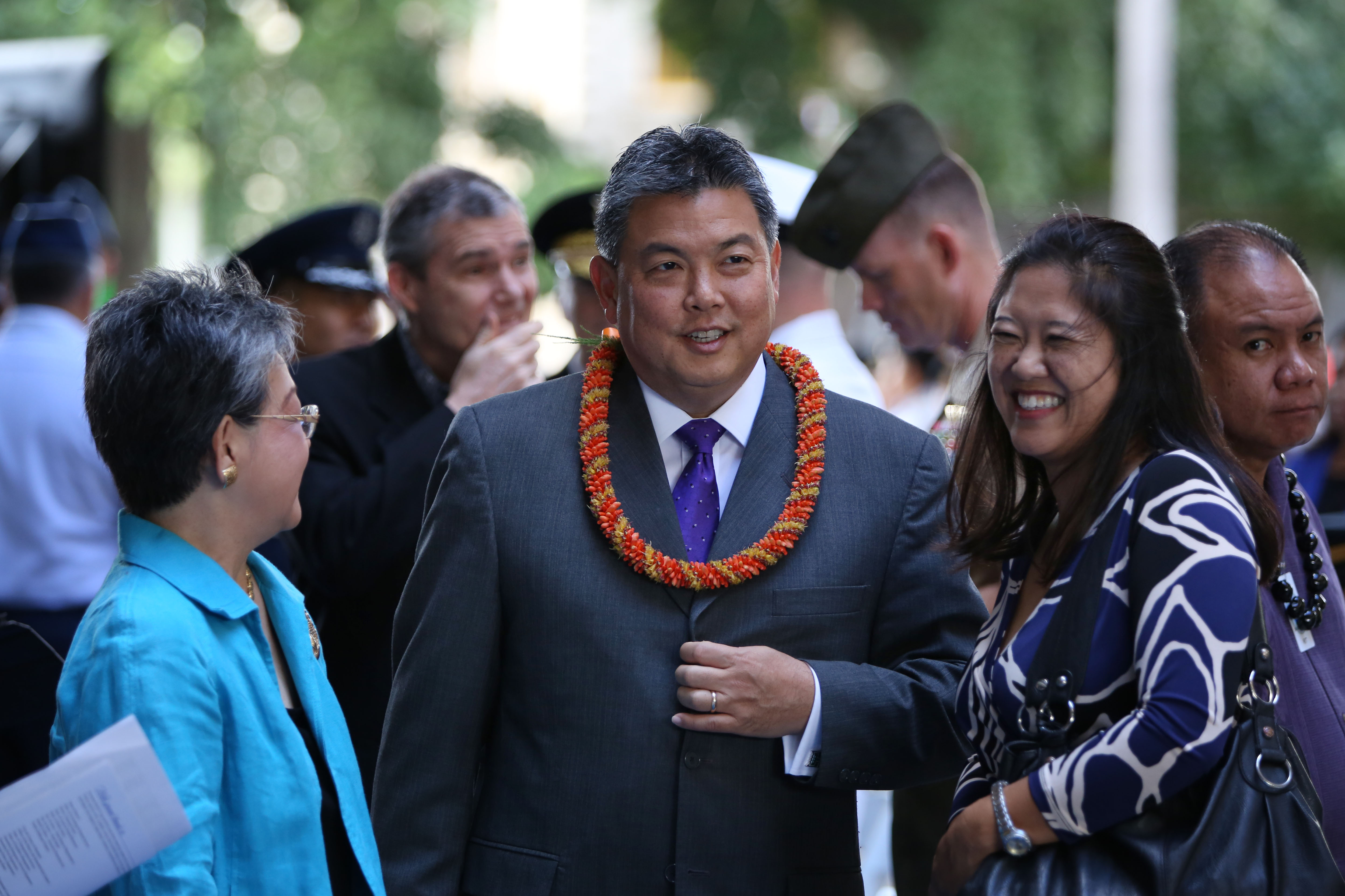 <p><strong>December 2014, The Ige Inauguration:</strong> Congressman-Elect Takai with his wife Sami at the inauguration ceremony for Gov. David Ige.</p>