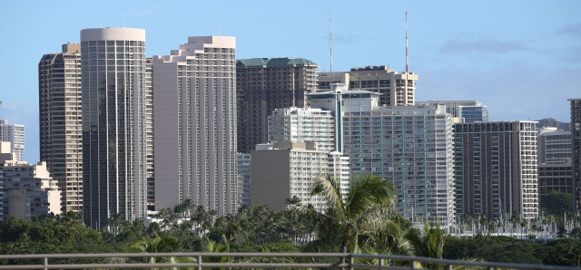 Waikiki skyline featuring Hawaii Prince Hotel at left and new and older buildings dotting the Waikiki skyline. 16 dec 2014. photograph cory Lum