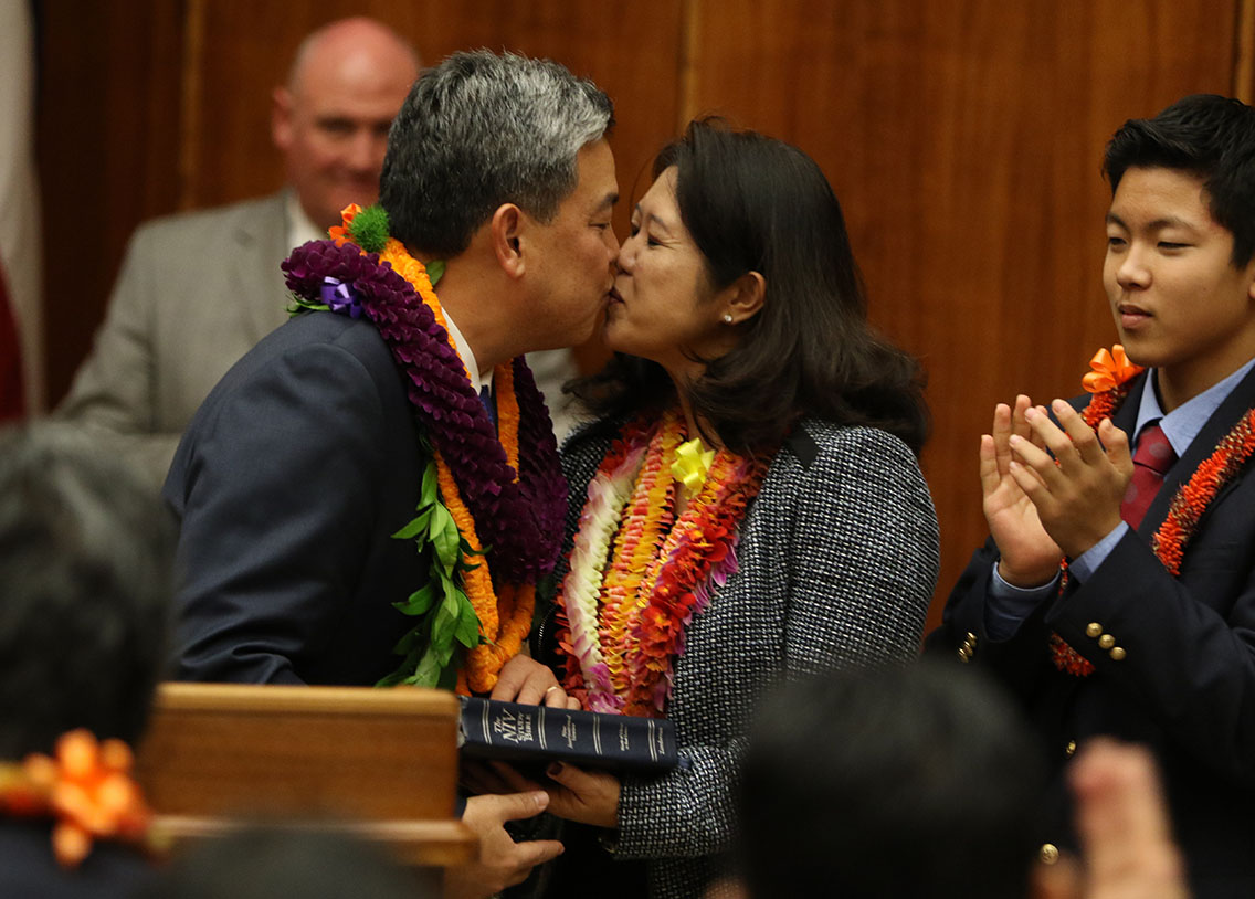 <p><strong>January 2015, Sealed With a Kiss:</strong> Takai gets a kiss from his wife after taking the oath of office.</p>