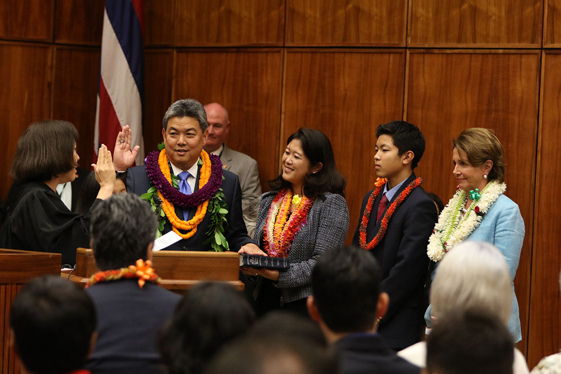 <p><strong>January 2015, Oath of Office:</strong> Judge Susan Oki Mollway swears in Takai at the Federal Courthouse in Honolulu as his wife Sami and son Matthew watch, with U.S. House Minority Leader Nancy Pelosi at right.</p>