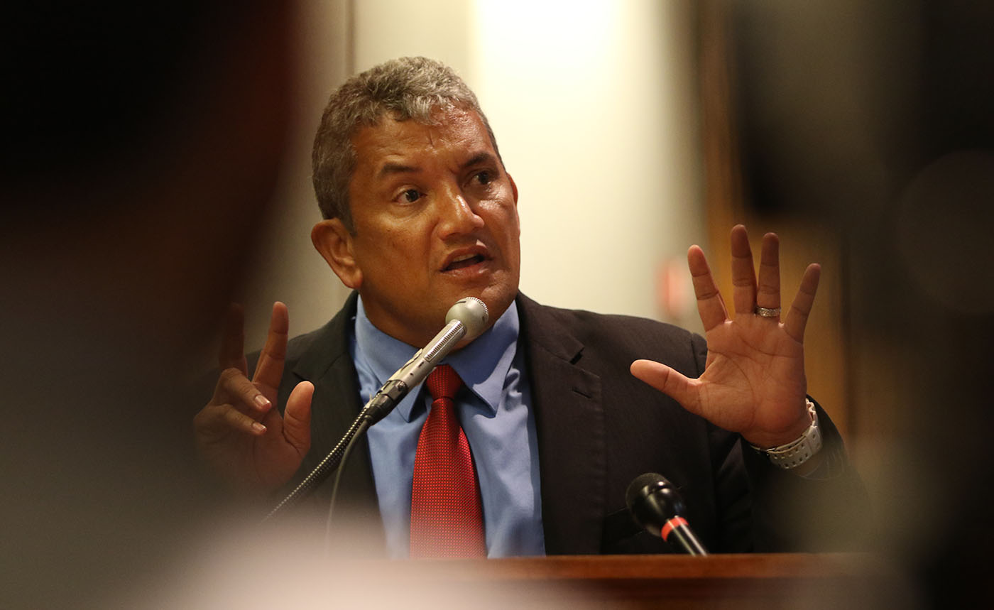 <p>Big Island Mayor Billy Kenoi speaks to a legislative committee at the Capitol in late January. Within months, he'd be embroiled in a scandal over his use of a government-issued pCard for private expenses. He remains under investigation.</p>