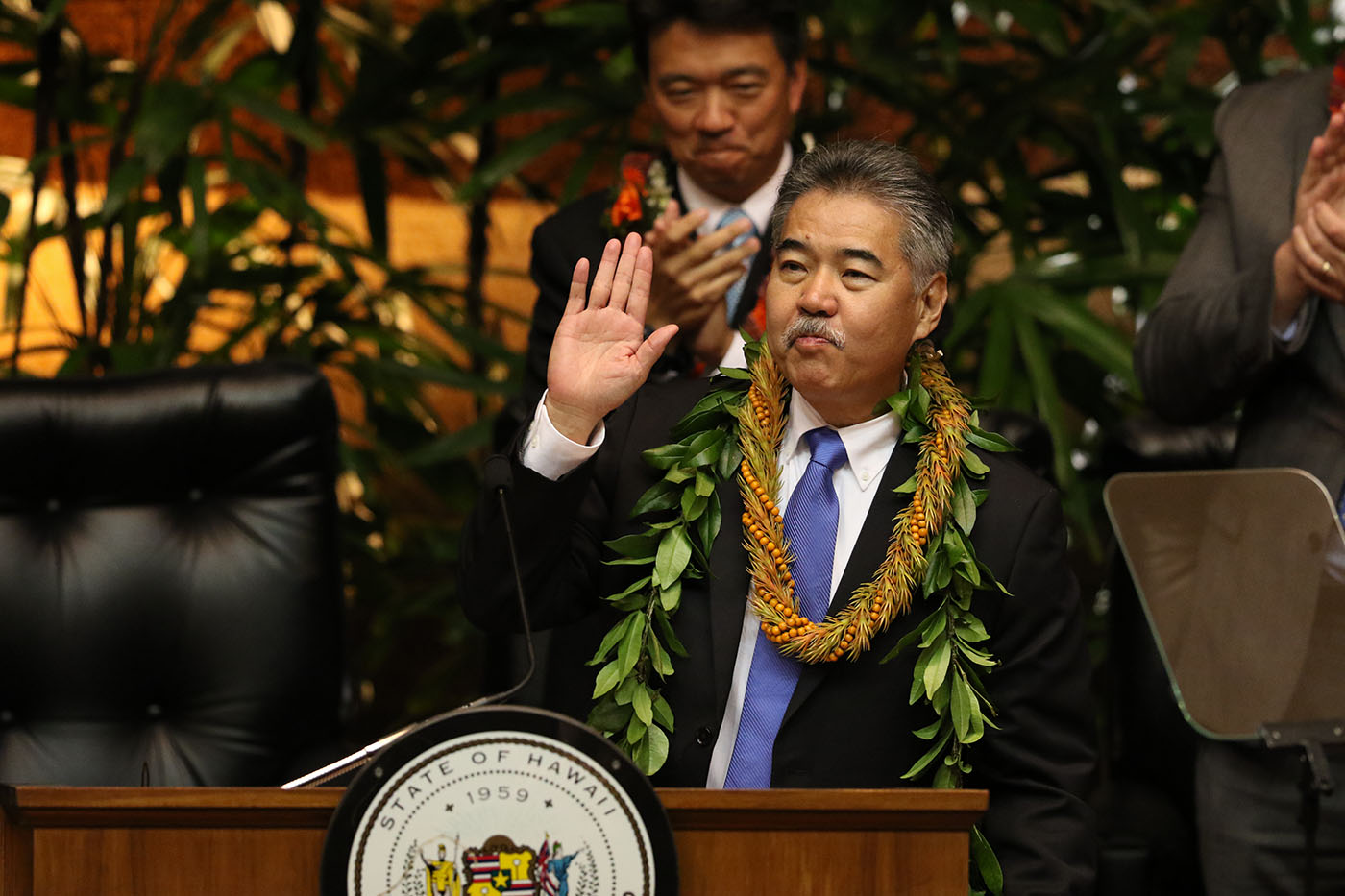 <p>New Gov. David Ige gives his State of the State speech in late January after the convening of a new legislative session.</p>