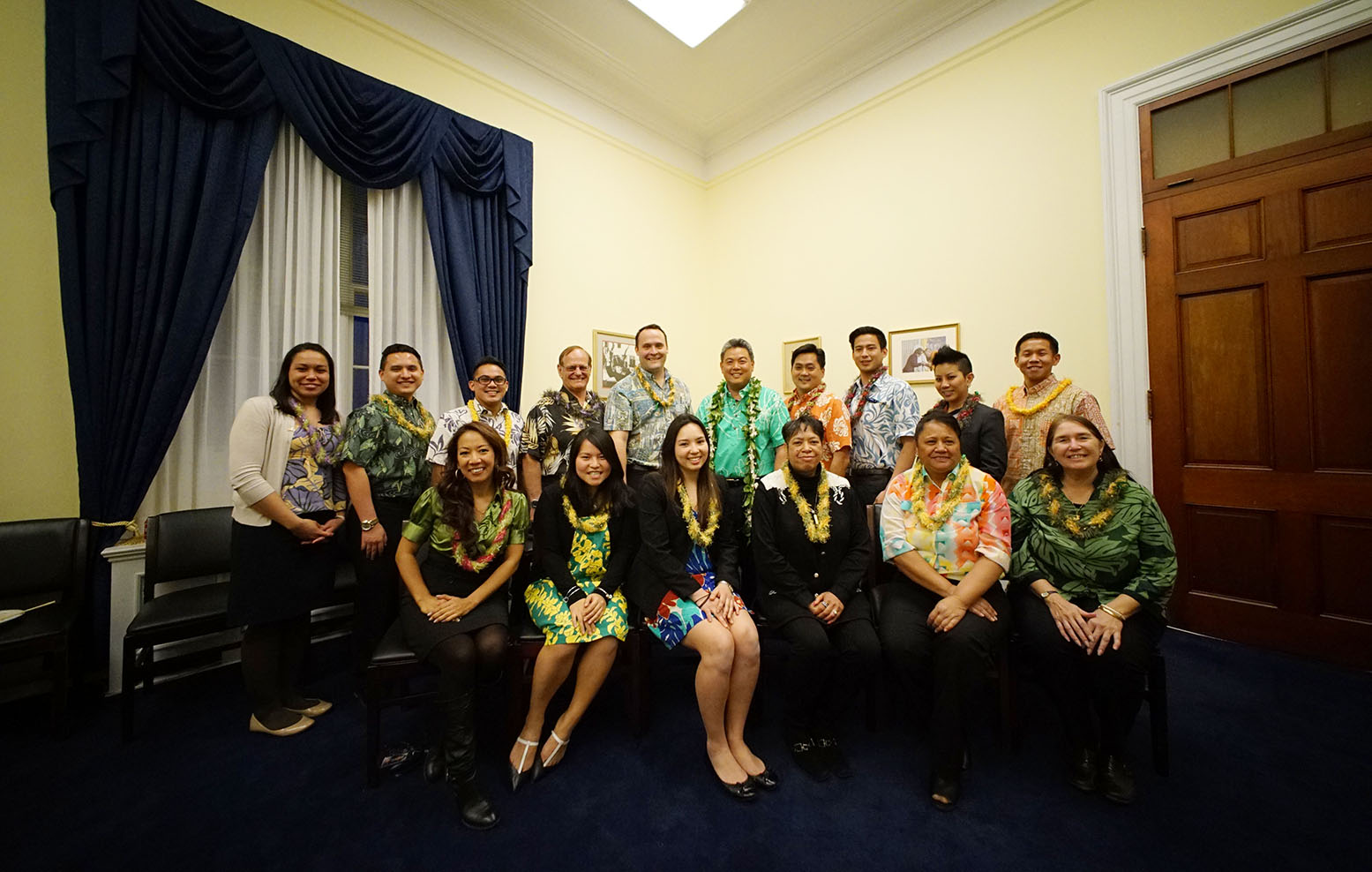 "<p><strong>February 2015, Aloha Gathering:</strong> Takai, friends and staff members gather for an ""Aloha Friday"" celebration in Washington.</p>"