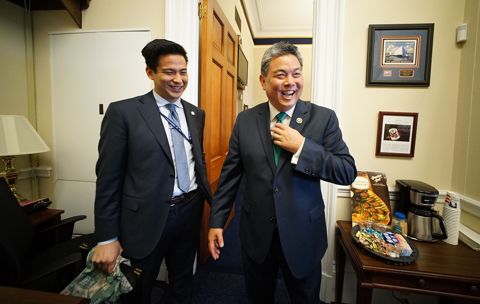 <p><strong>February 2015, Ensconced in Office:</strong> Takai with his deputy communications director, Alex Hetherington, at his office in Washington, D.C.</p>