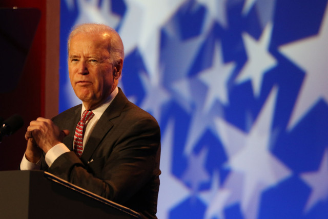Vice President Joe Biden gestures while speaking at to the National Associate of Counties national meeting at Washington Marriot Wardman Park. 23 feb 2015. photograph Cory Lum/Civil Beat