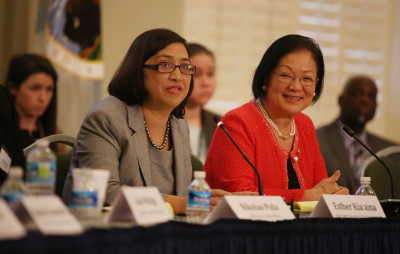 Senator Mazie Hirono and Assistant Secretary for Insular Affairs Esther Kia'aina moderates during 2015 Senior Plenary Session of the Interagency Group on Insular Areas, South Interior Auditorium. Washington DC. 24 feb 2015. photograph Cory Lum/Civil Beat