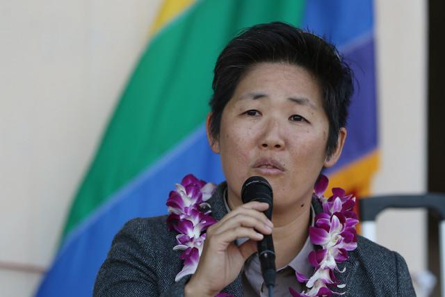 GLBT rally speaker Kathryn Xian. 27 april 2015. photograph Cory Lum/Civil Beat