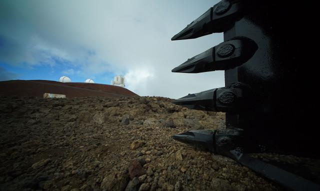 Construction equipment rests on the TMT work site on Mauna Kea.  9 april 2015. photograph Cory Lum/Civil Beat