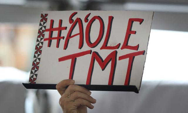 'A'ole TMT signat UH Manoa rally.  13 april 2015.  photograph Cory Lum/Civil Beat