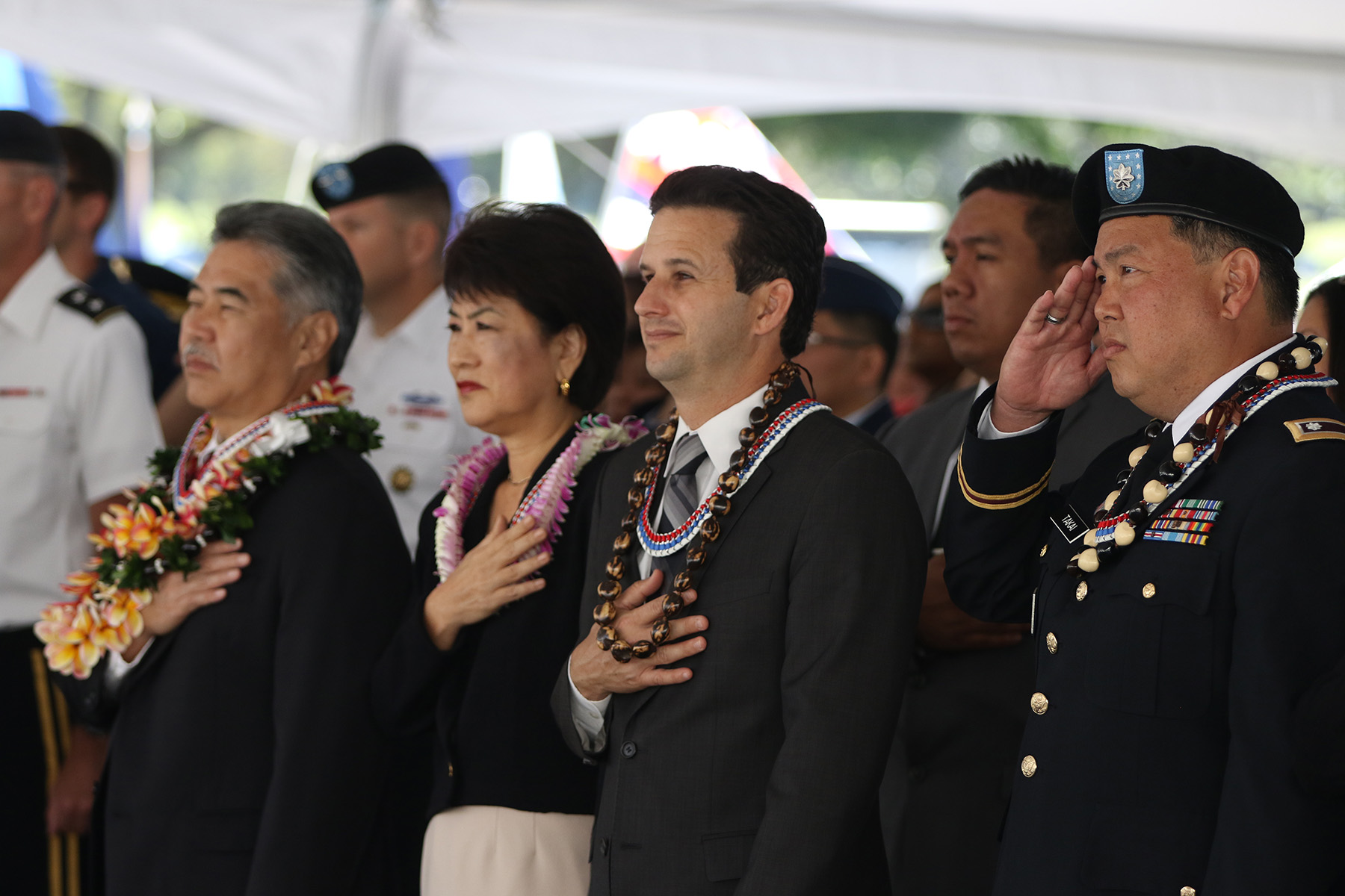 <p><strong>May 2015: Memorial Day Tribute:</strong> Takai, a lieutenant colonel in the Hawaii Army National Guard, salutes during a service at the National Cemetery of the Pacific. Others include, from left, Gov. David Ige, First Lady Dawn Ige, and Sen. Brian Schatz.</p>