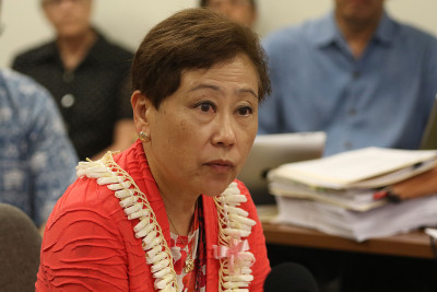 DOE Kathryn Matauyoshi testifies during a Hawaii State Ethics commission meeting. 27 may 2015. photograph Cory Lum/Civil Beat