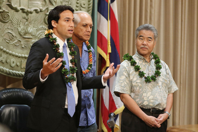 Representative Chris Lee and Senator Mike Gabbard speak before Governor Ige signed each bill during bill signing ceremony held at the Governors office. Governor Ige signed 4 bills into law. 8 june 2015. photograph Cory Lum/Civil Beat