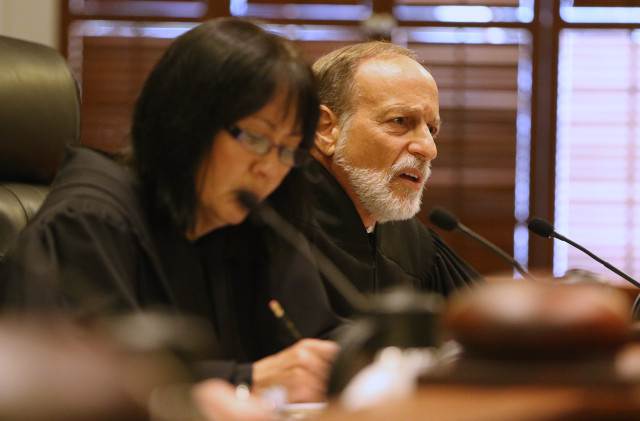 Hawaii Supreme Court Associate justice Richard Pollack during Hawaii State Supreme Court oral arguments from The Sierra Club vs. DR Horton-Schuler Homes, The Land Use commission, Office of Planning and Dept of Planning and Permitting . 25 june 2015. photograph Cory Lum/Civil Beat
