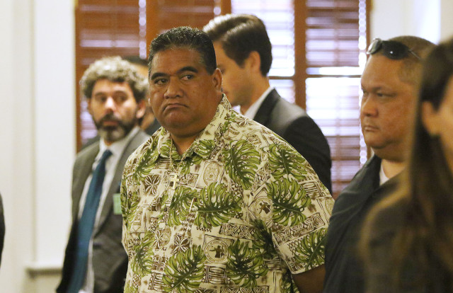 SHOPO President Tenari Maafala stands in the Hawaii State Supreme Court at the conclusion of arguments. 18 june 2015. photograph Cory Lum/Civil Beat