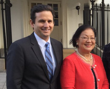 U.S. Sens. Brian Schatz and Mazie Hirono at the White House in 2015.