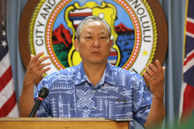Honolulu Managing Director Roy Amemiya gives press conference about failed bid on the Hilo Hattie property. 28 july 2015. photograph Cory Lum/Civil Beat