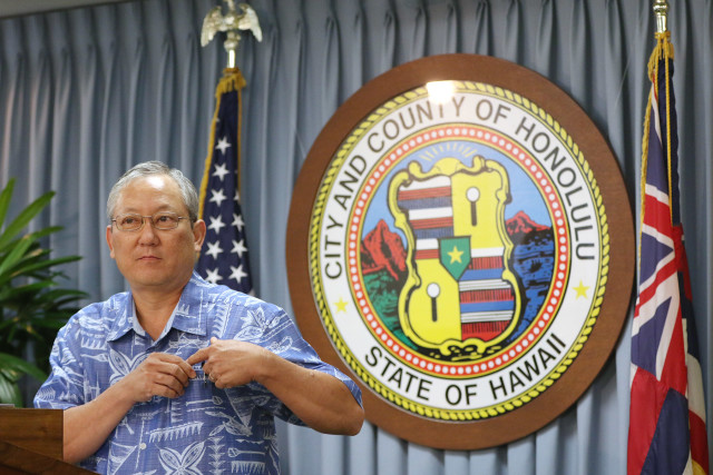 Honolulu Managing Director Roy Amemiya before press conference about failed bid on the Hilo Hattie property. 28 july 2015. photograph Cory Lum/Civil Beat