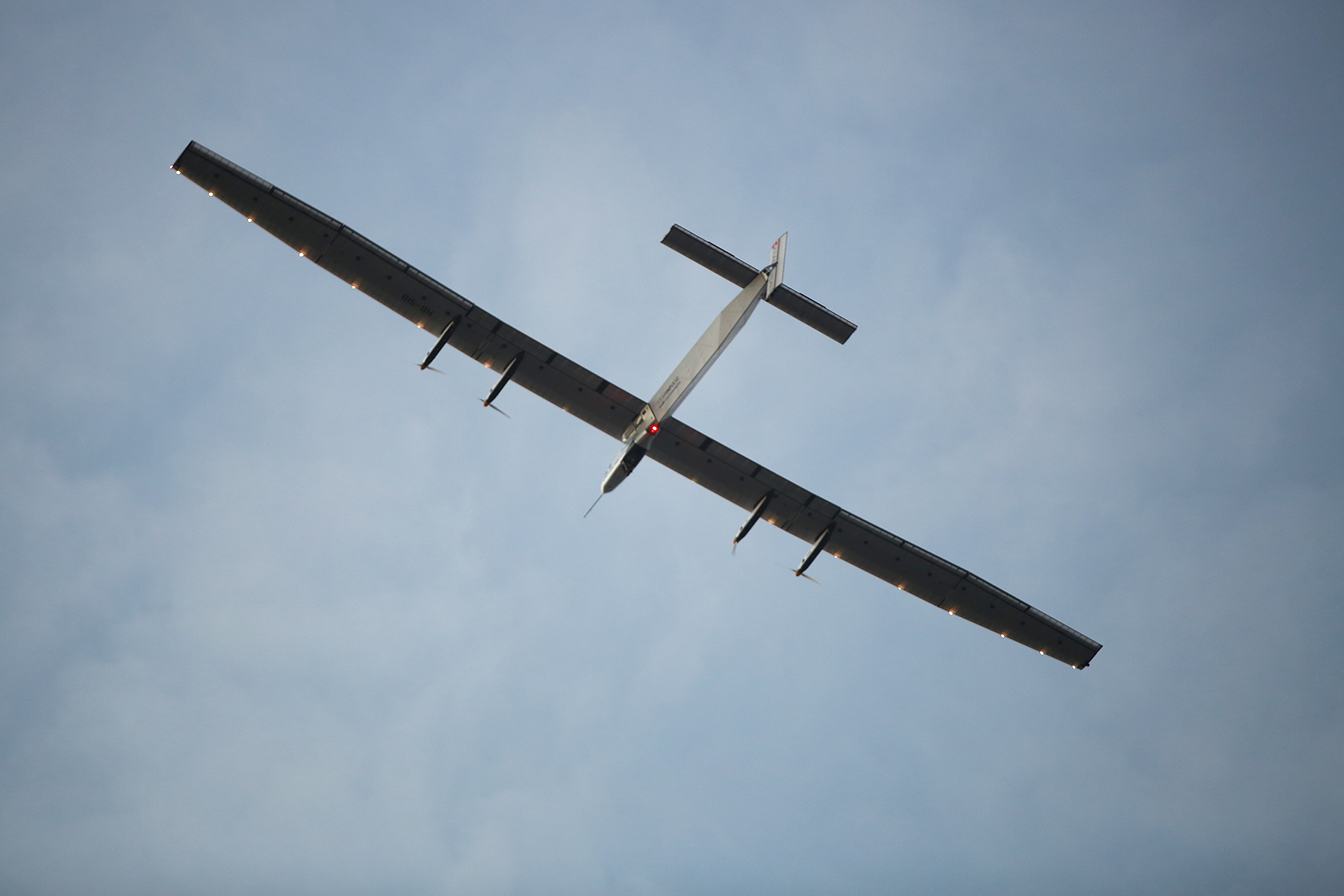 <p>Solar Impulse 2 approaches Kalaeloa Airport in early July after a record five-day flight over the Pacific from Nagoya, Japan. It's one leg of an around-the-world flight for the solar-powered aircraft.</p>
