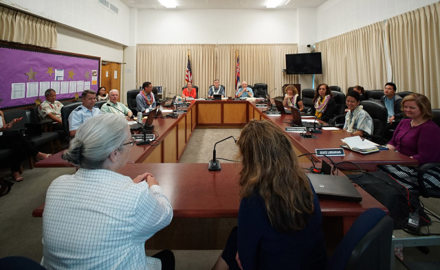 Wide view Board of Education Meeting. 17 june 2015. photograph Cory Lum/Civil Beat