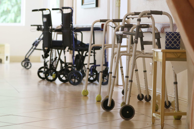 Walkers and wheel chairs at Hokulaki Senior Living LLC. care home elderly. 14 aug 2015. photograph Cory Lum/Civil Beat
